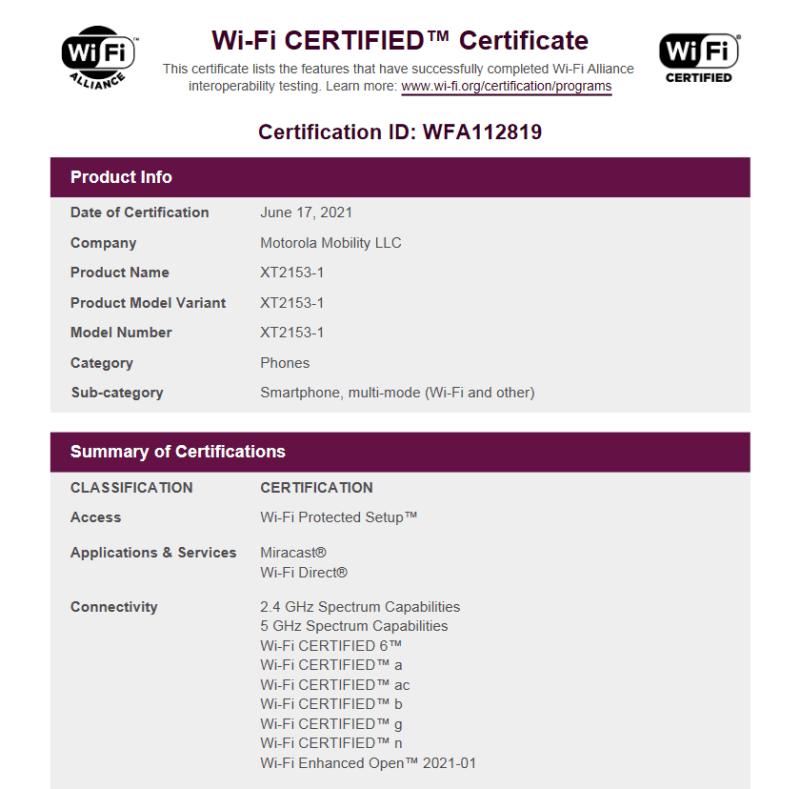 Motorola Edge PStar (XT2153-1) Wi-Fi Alliance