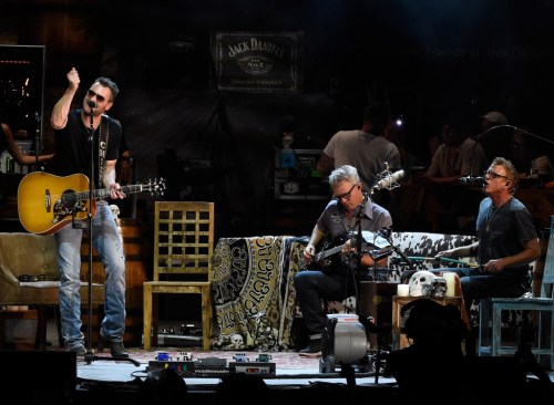 NASHVILLE, TN - JULY 30:  Musicians Lee Hendricks and Craig Wright join Singer/Songwriter Eric Church (left) for the opening of the new Ascend Amphitheater with the first of two sold out solo shows on July 30, 2015 in Nashville, Tennessee.  (Photo by Rick Diamond/Getty Images)
