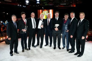 Pictured above are (l-r):BMI Vice President, Writer/Publisher Relations Jody Williams; Song of the Year award scribe Ketch Secor; Sony/ATV Music Publishing Co-President Danny Strick; Sony/ATV Music Publishing  Nashville President and CEO Troy Tomlinson; Sony/ATV Music Publishing Chairman & CEO Martin Bandier; BMI Icon recipient Vince Gill; Songwriter of the Year winner Rhett Akins; BMI President & CEO Mike O' Neill; and BMI Assistant Vice President, Writer/Publisher Relations Clay Bradley