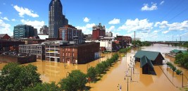 as the flood waters rise around the riverfront area of downtown Nashville.