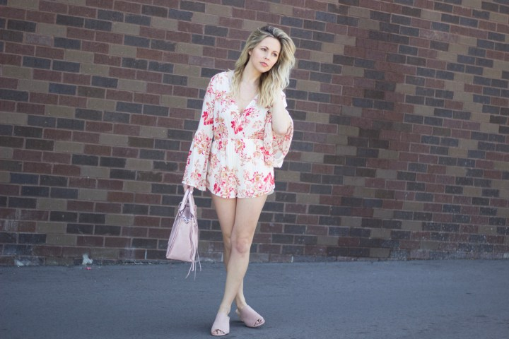 spring fashion looks. summer fashion looks. Summer dresses. what to wear to wedding. what to wear in summer. wearing grey in summer. Bell sleeves. romper fashion.