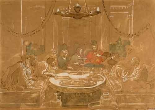 Александр Андреевич Иванов.Тайная вечеря (Христос подает чашу ученикам). Бумага коричневая, акварель, белила, итальянский карандаш