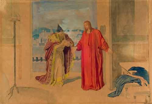 Александр Андреевич Иванов.Христос и Никодим. Бумага коричневая, акварель, белила, итальянский карандаш