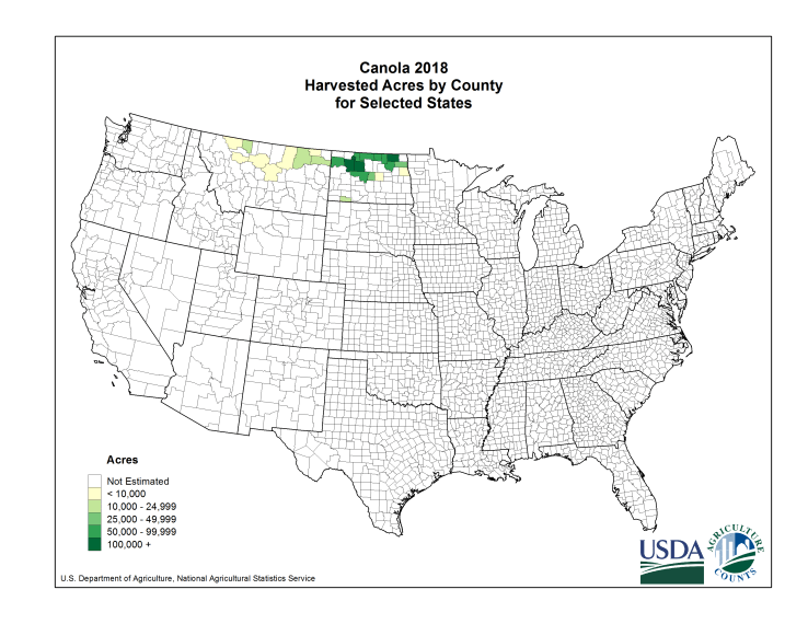 Canola: Harvested Acreage by County