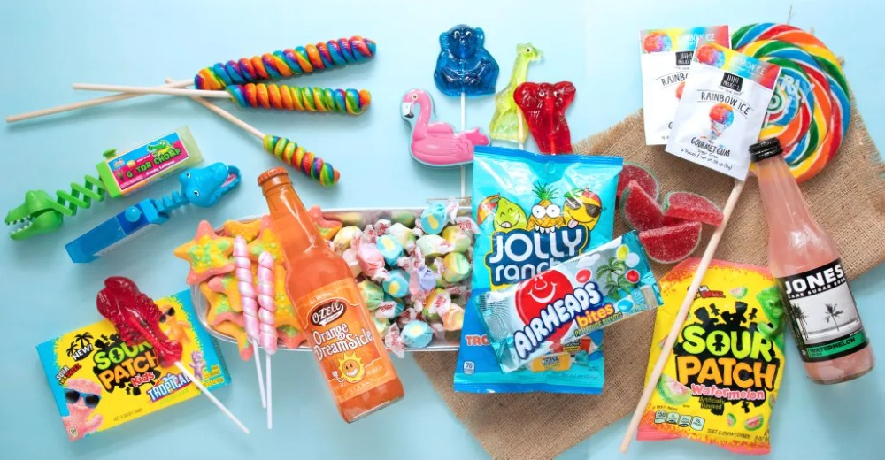summer snacks, travel snacks, tourist snacks, packaged snacks, tropical flavors, twist pops, tropical gummies, Jolly Ranchers, Sour Patch Kids, unicorn pops, Whirly pops, twist pops