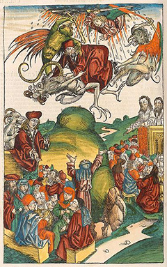 The Death of Simon Magus from the Nuremberg Chronicle (or Liber Chronicarum), 1493.