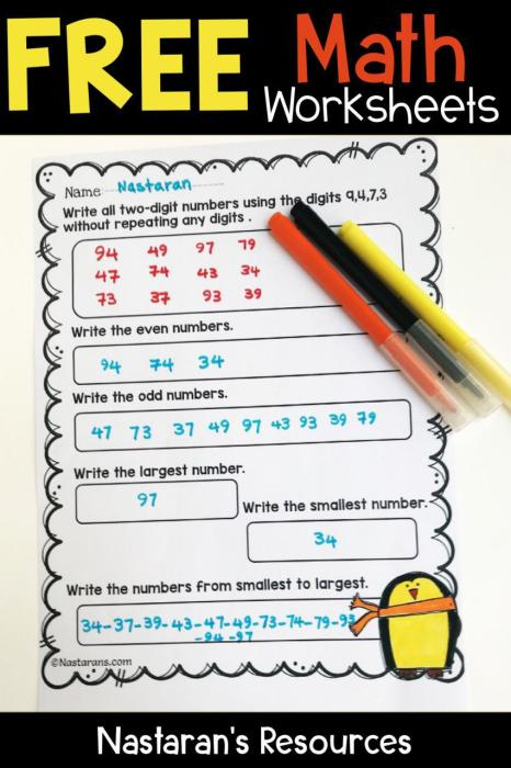 Free Elementary Math Worksheets > Nastaran's Resources