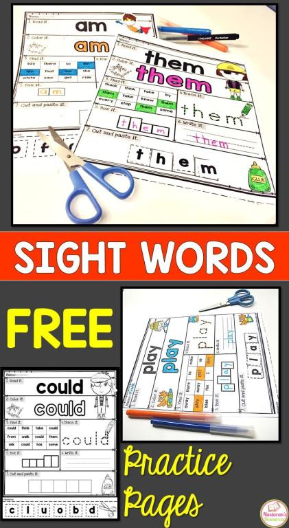 Free Sight Word practice pages.These printable Worksheets are great activities for kindergarten,preschool,and first grade! Use these worksheets for centers, morning work ,early finishers , or send home as a homework. Your students will love it! if you like it make sure to checkout the full version. #sightwords #kindergarten #kindergartenreading #sightwordactivities