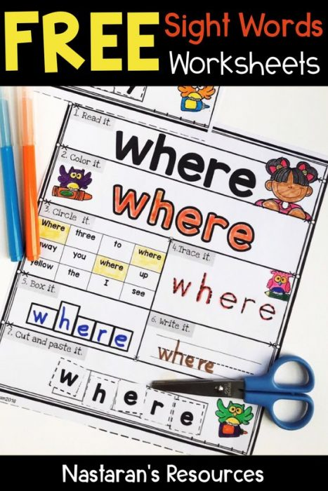 Free Sight Words Worksheets - Practice Pages > Nastaran's Resources