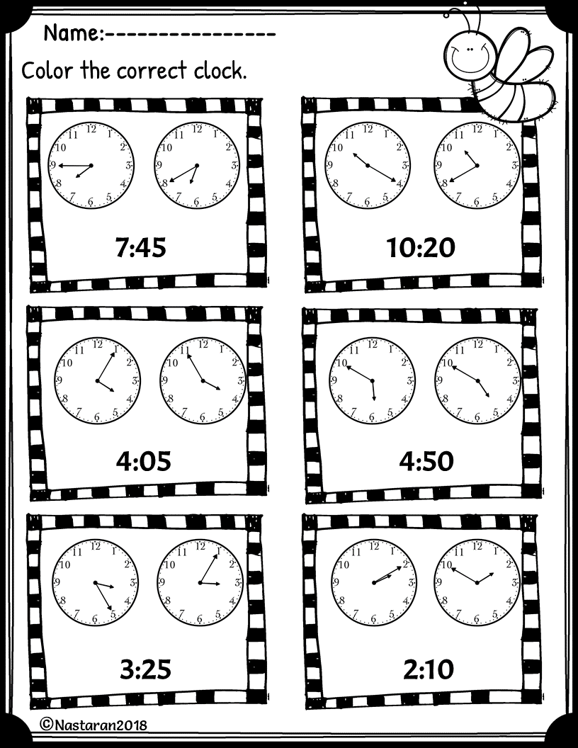 Free Telling Time Worksheet To Nearest 5 Minutes [ 1056 x 816 Pixel ]