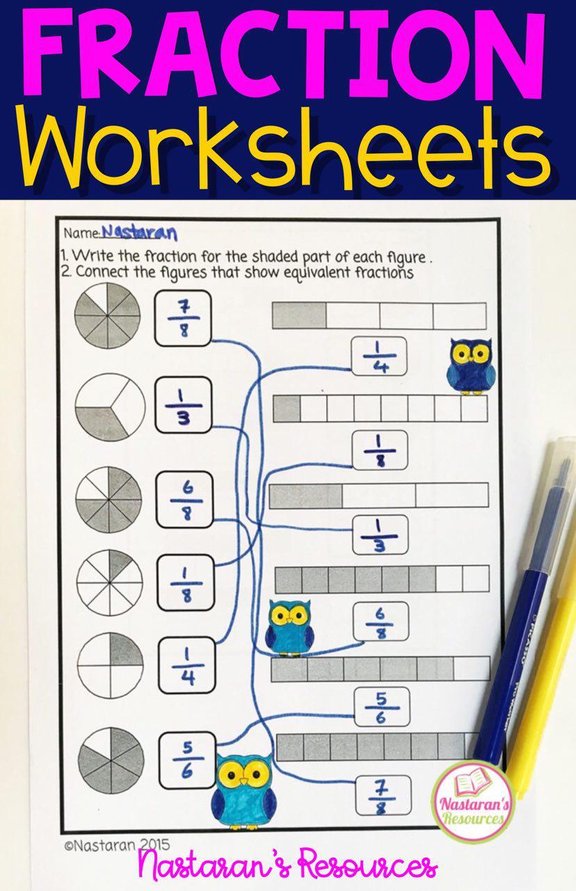 Fraction Worksheets For Grade 3  [ 1280 x 828 Pixel ]
