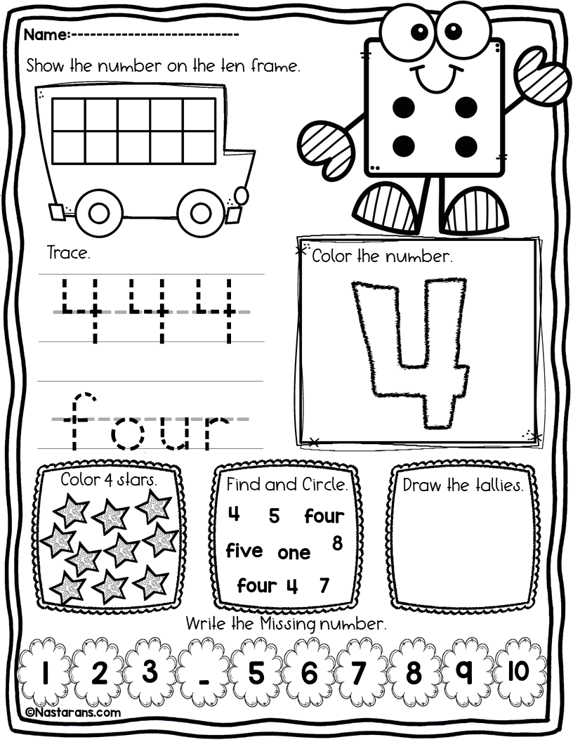 Numbers 1-10 Worksheets For Kindergarten