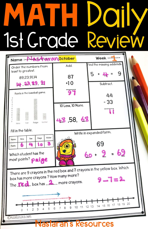 Halloween Math Worksheets-Daily Math Review \u003e Nastaran's Resources [ 2720 x 1760 Pixel ]