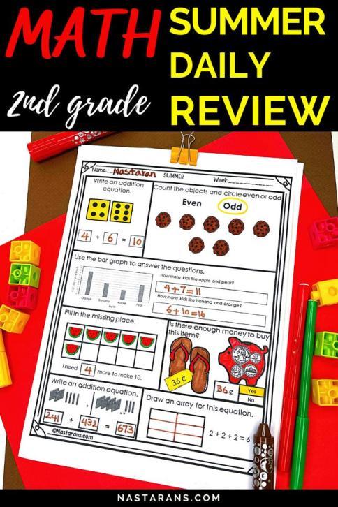 2nd Grade Summer Daily math review