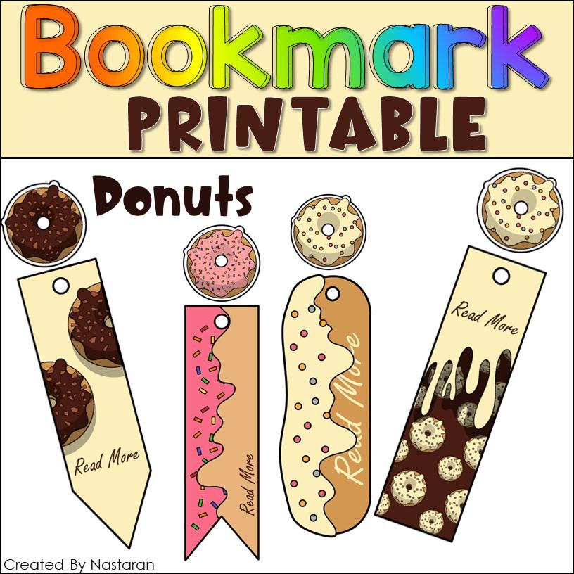 Printable Bookmark Donuts