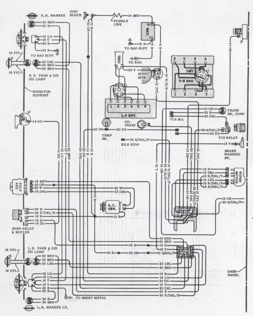 1971 Camaro Engine & Forward Light Wiring Schematic
