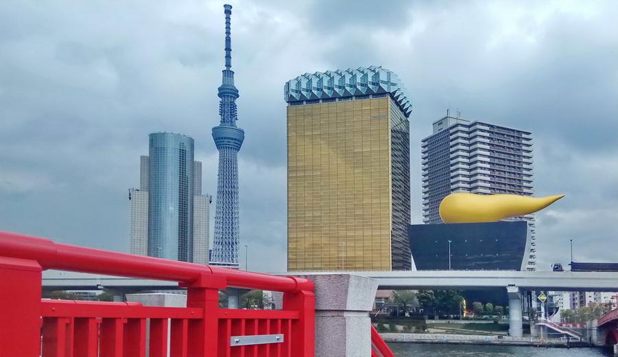 Asahi building i Tokyo Sky Tree - Tokio Japonia