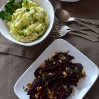 Roasted beets with hazelnut picada and mashed potatoes with majado