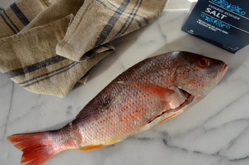 Red Snapper in a Salt Crust with Rosemary Baked Potatoes, a