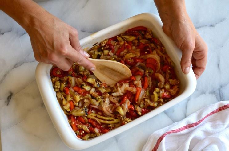 Roasted red pepper, eggplant, cod salad, Mama ía blog