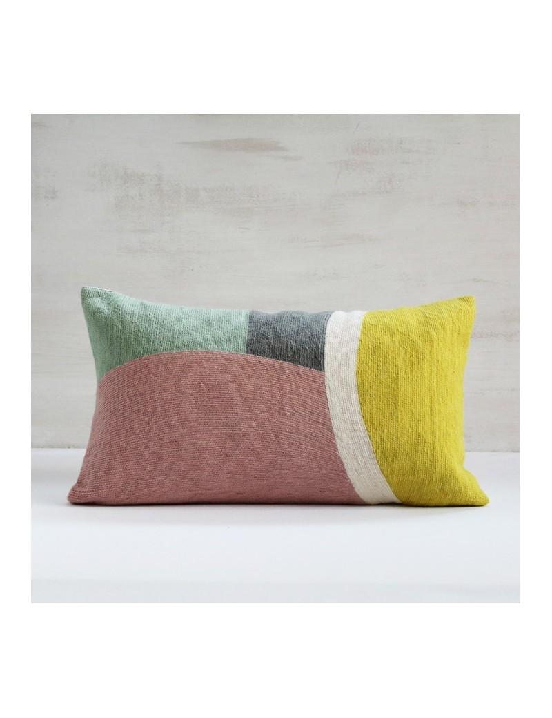 housse de coussin onde jaune rose et vert en laine