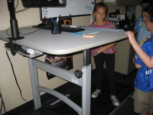 Kate on Treadmill desk