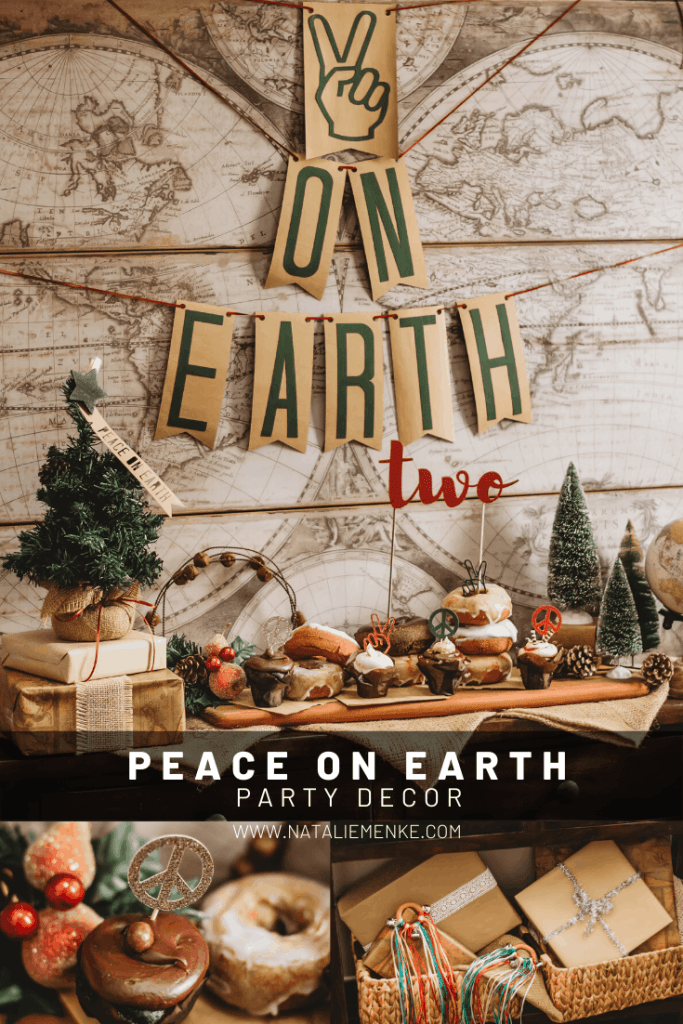 Peace on Earth December Birthday Party theme with banner and donut table