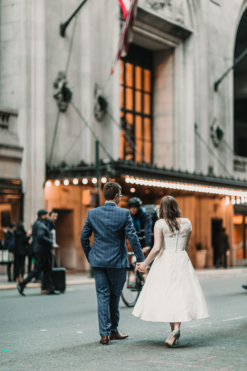 Laid back New York City elopement. An adventure from the Brooklyn Bridge to sunset at the Rockefeller centre. Photographed by Natalie Pluck. To see more from this wedding click here: http://www.nataliepluck.com/new-york-city-elopement/