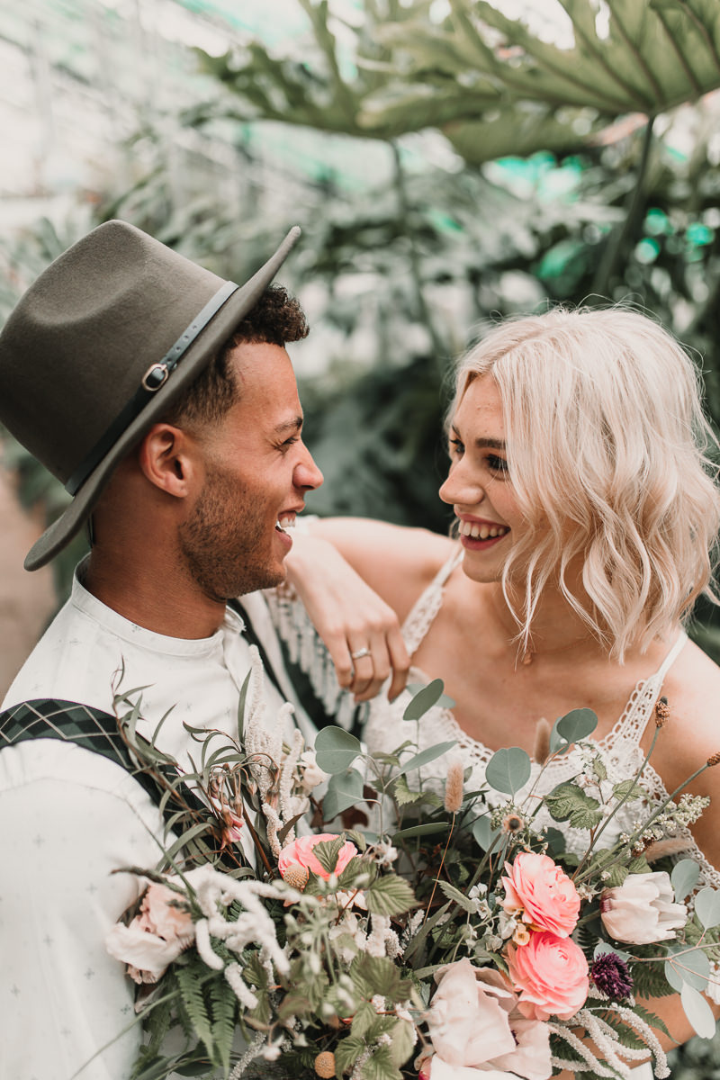 Happy boho couple at Palm house elopement. Blush and green Bohemian Wedding Inspiration bringing a little California to you where ever you are in the world. Relaxed styling and desert inspiration and vibes. Wedding ideas for boho brides who an effortlessly relaxed, bohemian wedding. Shot by Natalie Pluck Photography. See full blog post for credits and more inspiration here http://www.nataliepluck.com/bohemian-wedding-inspiration/ ‎