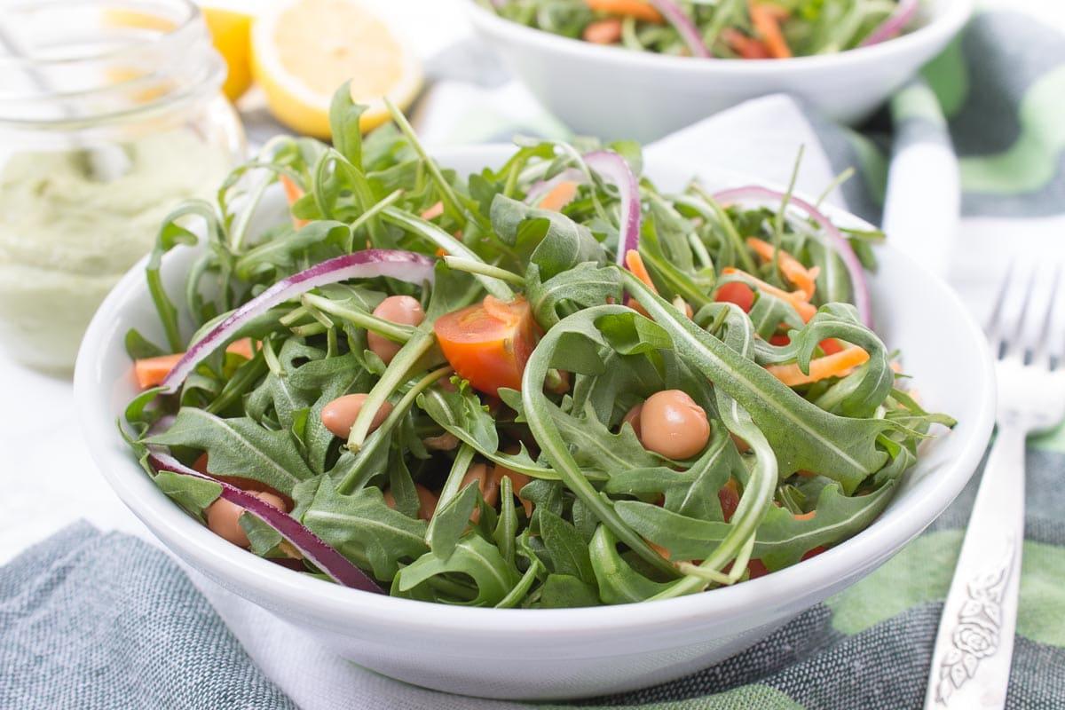Arugula Beans Salad with Avocado Dressing