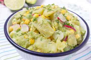 Light and creamy, Avocado Potato Salad with Spring Onions and Radishes. Mayo-free, dairy-free, vegan and just delicious. #vegan #glutenfree #healthy #whole30 #lowcalorie #vegetarian #lunch natalieshealth.com
