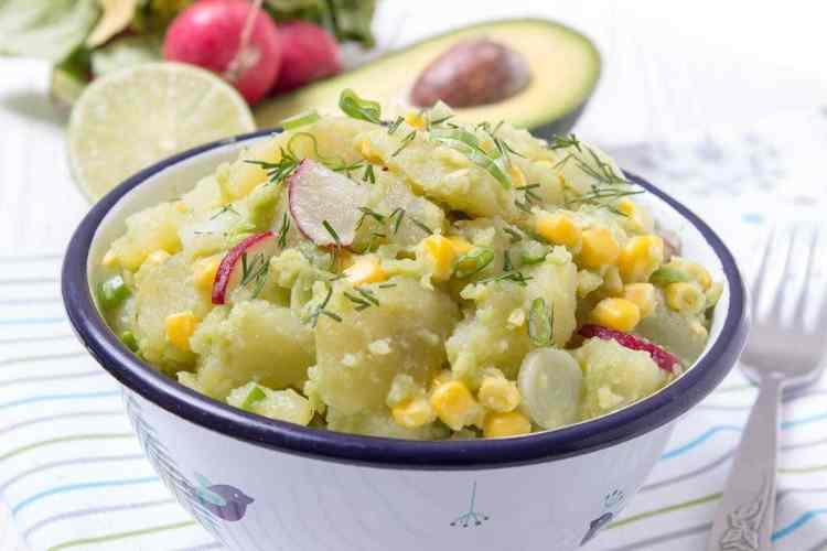 Creamy no-mayo Avocado Potato Salad with Spring Onions and Radishes