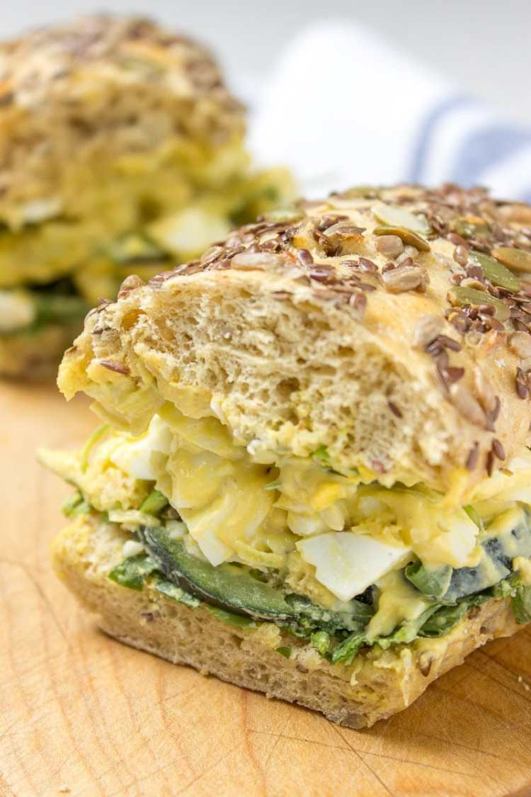 No Mayo Ginger Egg Salad loaded with HEALTHY nutrients, super light and very nutritious. It's perfect on a sandwich or as party food served with veggies or chips. #healthy #whole30 #paleo #salad #eggs #Easter #leftover #nomayo #lowcal | natalieshealth.com