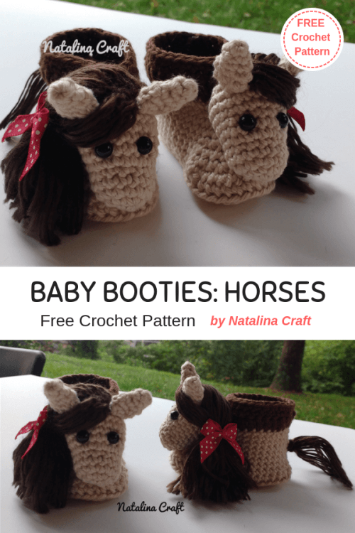 Free crochet pattern Baby booties Horse - Chausson cheval au crochet
