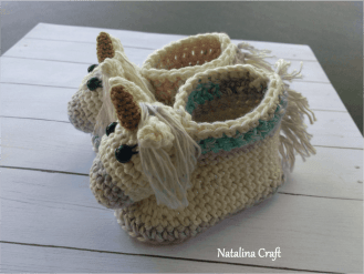 e1d38d340 Free Crochet Pattern: Unicorn Baby Booties - Natalina Craft