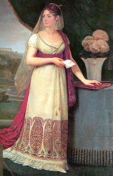 Empress Josephine in 1808. Note the paisley/boteh on her hem, the pashmina she's wearing -- and the veil. These are all from her extensive collections from India. Image: public domain.
