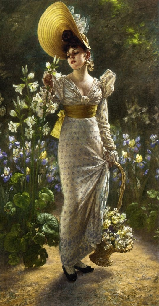 """This is an example of """"Regency revival"""" painting from the latter half of the 19th century featuring Princess Eivira of Bavaria by Karl Gampenrieder - ca 1900."""