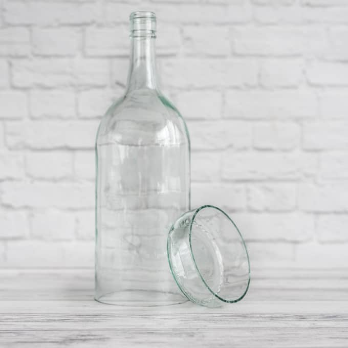 cut glass bottle after sanding