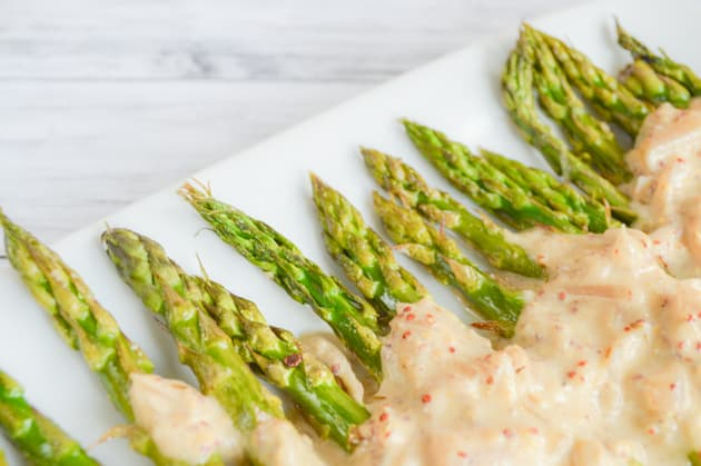 Paleo Oven Roasted Asparagus with Mustard Sauce