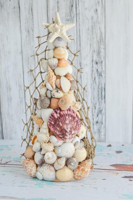 Costal Christmas Seashell Christmas Tree Topiary Tutorial -