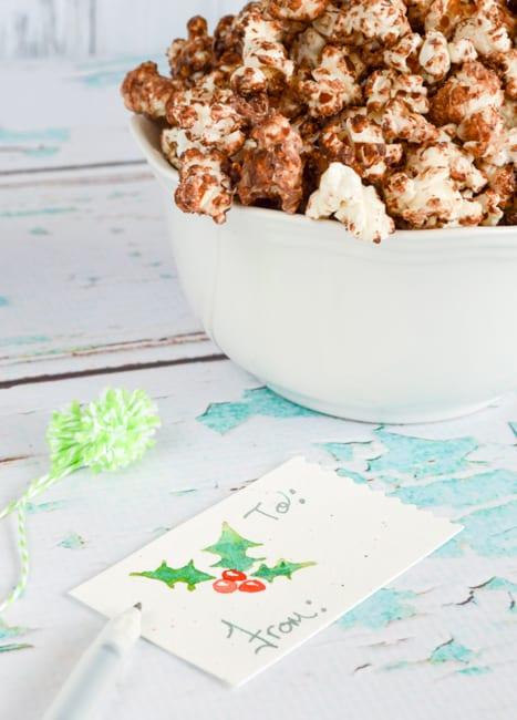chocolate mint popcorn homemade gift idea