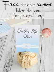 Free Printable Nautical Wedding Table Numbers!