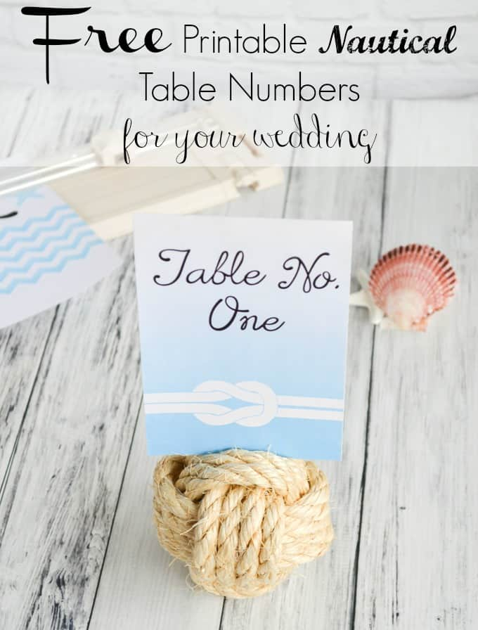 Free Printable Nautical Wedding Table Numbers The