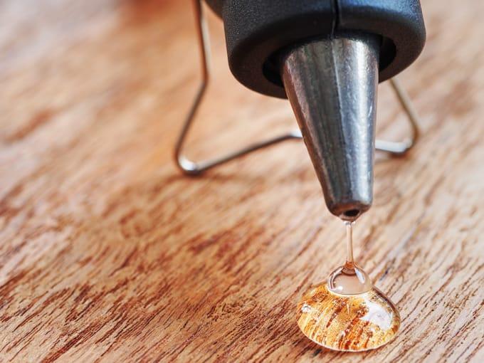 hot glue tips - allow glue gun to heat fully