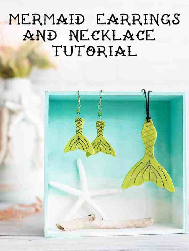 DIY mermaid earrings and necklace tutorial