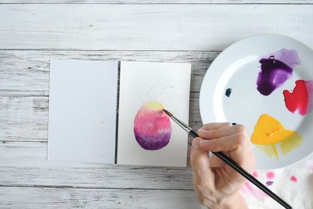 add yellow on watercolor pineapple