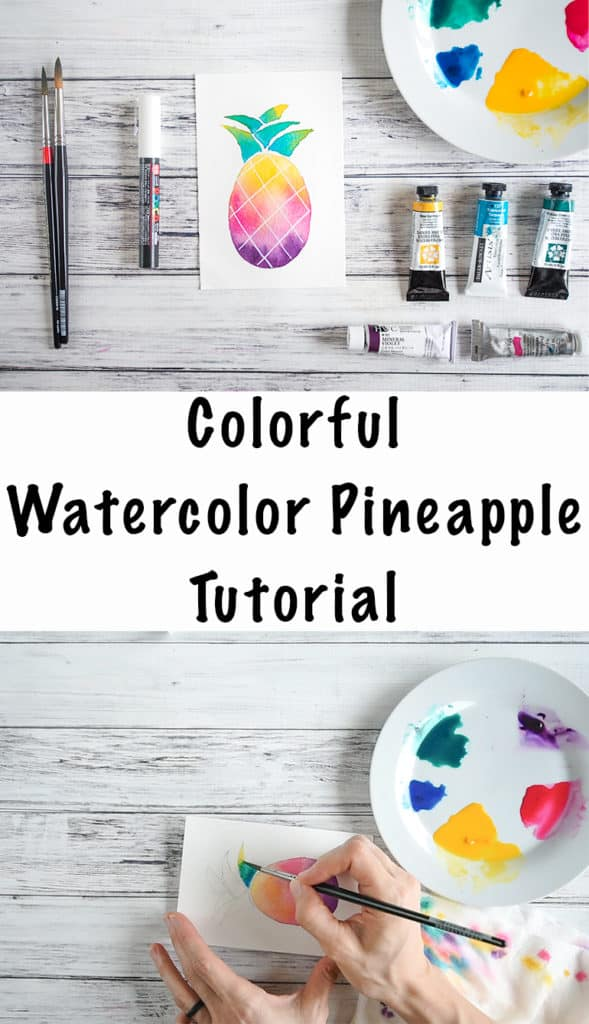 colorful watercolor pineapple tutorial