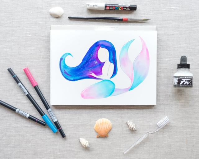 galaxy hair mermaid with watercolor markers skillshare class preview