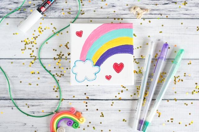 self-acceptance rainbow painting mini art tutorial