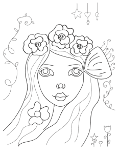 whimsical girl coloring page preview